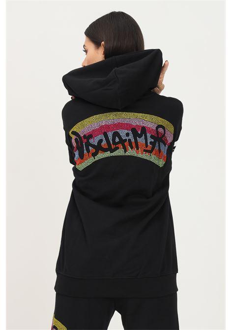 Felpa donna nero disclaimer con cappuccio e strass multicolor sul retro DISCLAIMER | Felpe | 21IDS50873NERO