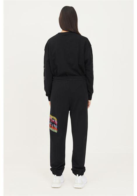 Pantaloni donna nero disclaimer con strass multicolor laterali DISCLAIMER | Pantaloni | 21IDS50874NERO