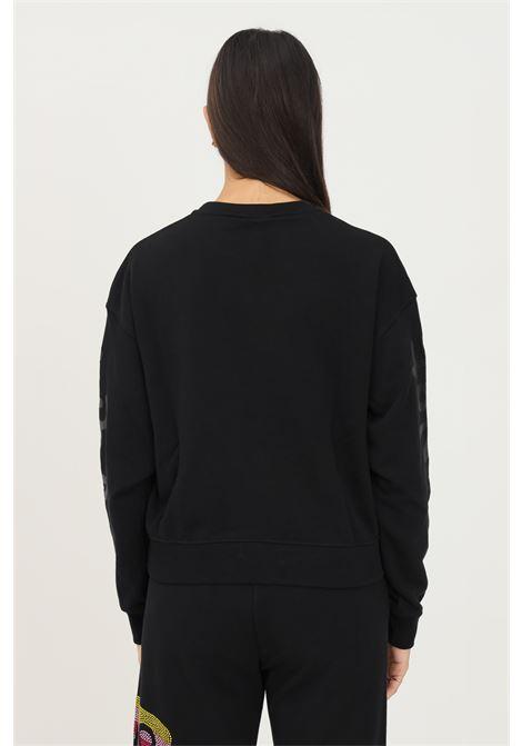 Felpa donna nero disclaimer modello girocollo con applicazione strass multicolor DISCLAIMER | Felpe | 21IDS50876NERO