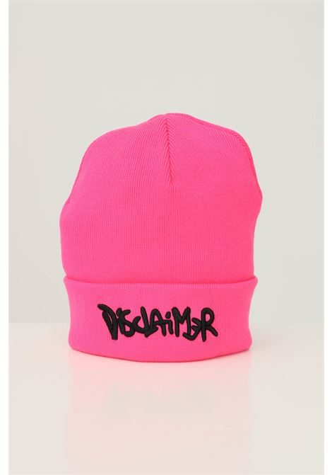 Fluo pink unisex hat by disclaimer with front logo embroidery in contrast DISCLAIMER | Hat | 21IDS50920FUXIA FLUO