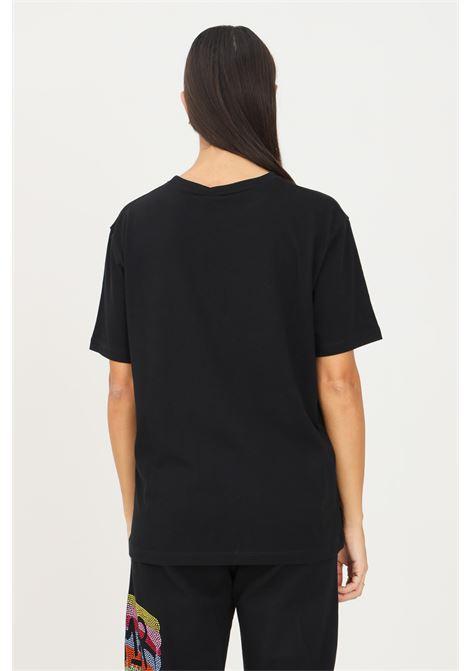 T-shirt donna nero disclaimer con strass multicolor sul davanti DISCLAIMER | T-shirt | 21IDS50934NERO