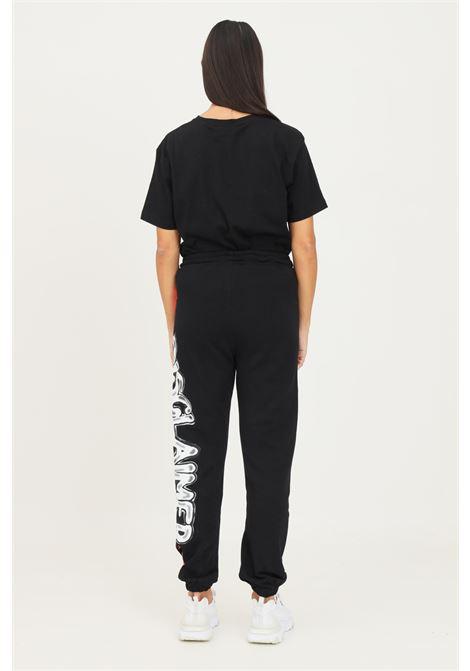 Pantaloni donna nero disclaimer modello casual con maxi logo laterale DISCLAIMER | Pantaloni | 21IDS50942NERO-BIANCO