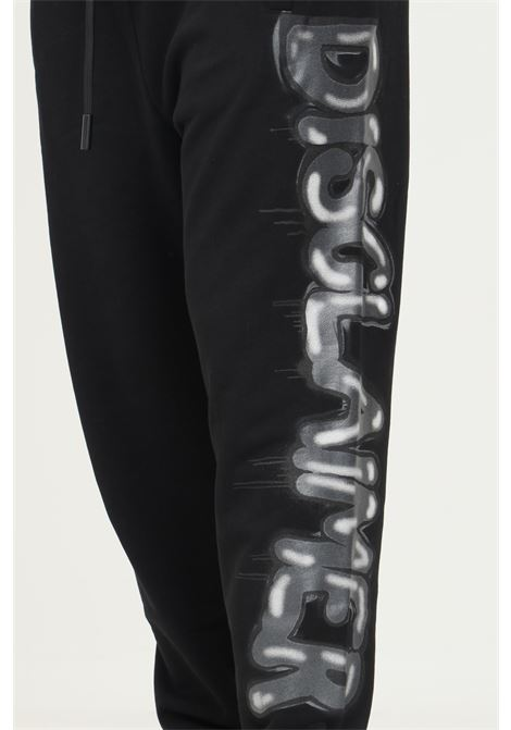 Black men's trousers by disclaimer, casual model with maxi grey logo on the side DISCLAIMER | Pants | 21IDS50960NERO-nero