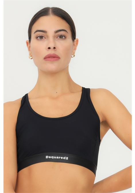 Black bralette by dsquared2 with elastic band and contrasting logo DSQUARED2   Bralette   D8D343740010