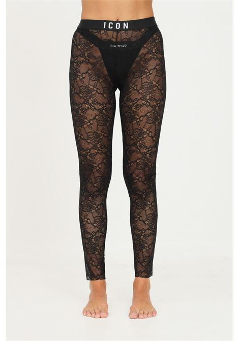 Black leggings in lace with dsquared2 logo DSQUARED2   Leggings   D8LM03650010