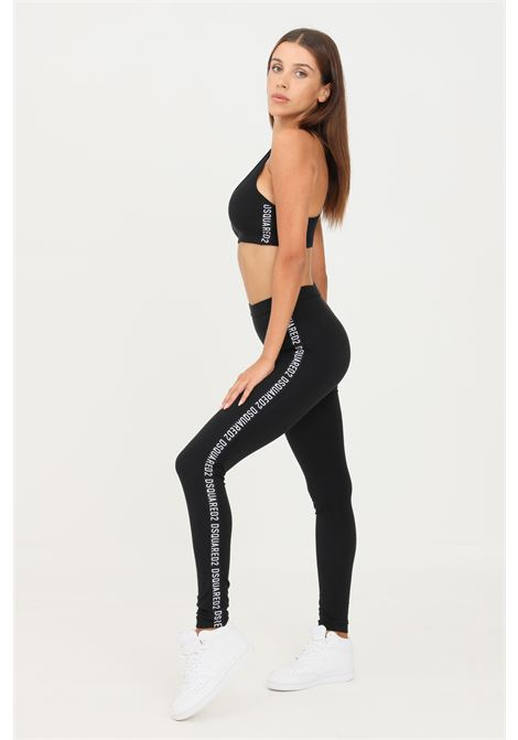Black leggings by dsquared2 with side logo bands in contrast DSQUARED2   Leggings   D8LM03720010