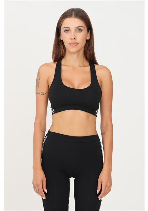 Black sports bra by dsquared2 with contrasting logo band DSQUARED2   Top   D8RG83720010
