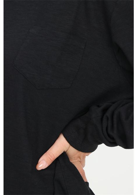 Black unisex sweater by dsquared2 with front pocket and elastic logo band on the bottom DSQUARED2   Knitwear   D9M173800001