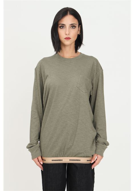 Green unisex sweater by dsquared2 with front pocket and elastic logo band on the bottom DSQUARED2   Knitwear   D9M173800302