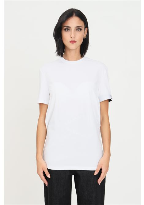 White unisex t-shirt by dsquared2 with elastic band on the sleeve, short sleeve DSQUARED2   T-shirt   D9M3S3590100