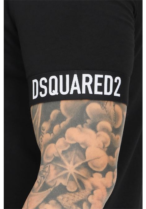 Black unisex t-shirt by dsquared2 with elastic bands on the sleeves short sleeve  DSQUARED2   T-shirt   D9M3U3620001