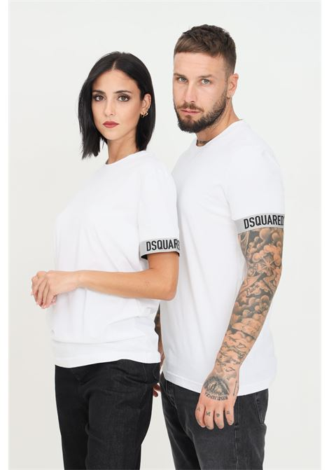White unisex t-shirt by dsquared2 with elastic bands on the sleeves short sleeve  DSQUARED2   T-shirt   D9M3U3620100