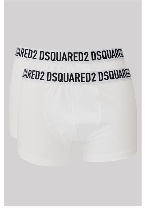 White men's boxer by dsquared2, elastic waistband with logo DSQUARED2      D9XC63610100