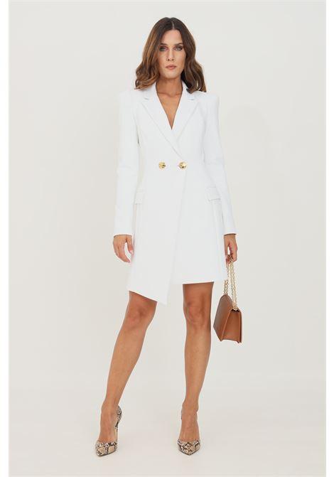 Ivory women's dress with golden buttons short cut elisabetta franchi ELISABETTA FRANCHI | Dress | AB09116E2360