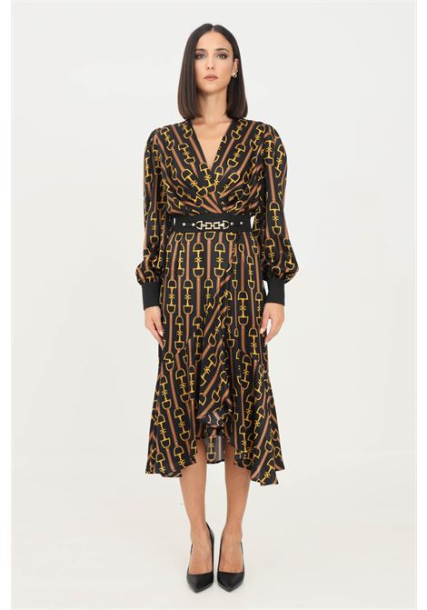 Black mou women's dress with clamp print and belt at the waist midi cut   ELISABETTA FRANCHI | Dress | AB16018E2722