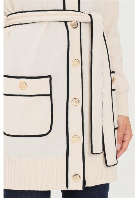 Cardigan beige donna elisabetta franchi in lana piping ELISABETTA FRANCHI | Cardigan | AM34S16E2E84