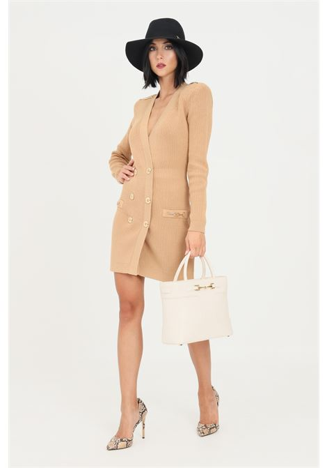Camel women's dress with long sleeves by elisabetta franchi  ELISABETTA FRANCHI | Dress | AM41S16E2470