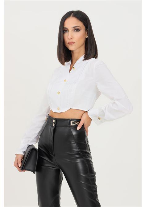 Camicia donna bianco elisabetta franchi elegante taglio corto con plastron ricamato ELISABETTA FRANCHI | Camicie | CA28418E2100