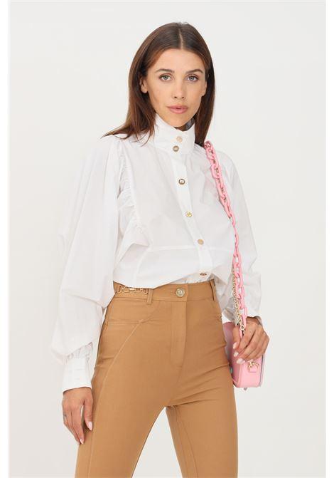 Camicia donna bianco elisabetta franchi modello elegante con bottoni oro ELISABETTA FRANCHI | Camicie | CA29616E2100