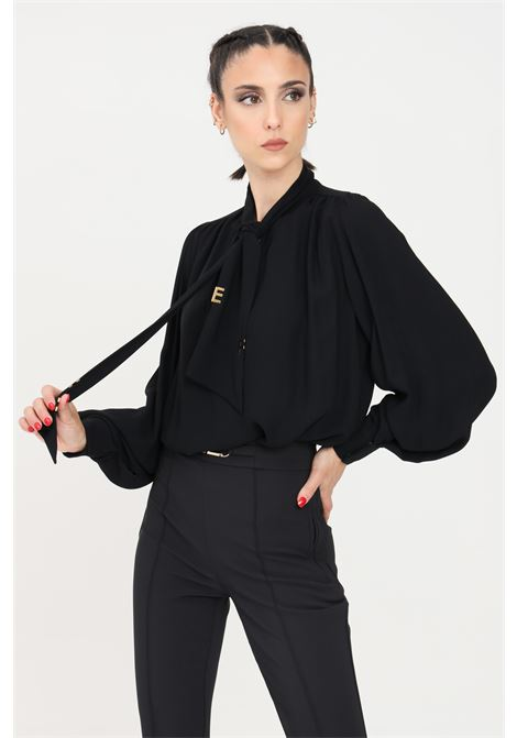 Black blouse with gold applications elisabetta franchi ELISABETTA FRANCHI | Blouse | CA30316E2110