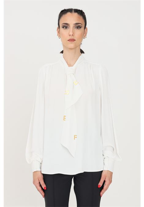 Ivory blouse with gold applications elisabetta franchi ELISABETTA FRANCHI | Blouse | CA30316E2360