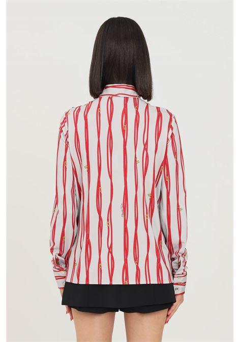 Camicia donna grigio rosso elisabetta franchi elegante ELISABETTA FRANCHI | Camicie | CA30716E2AA8