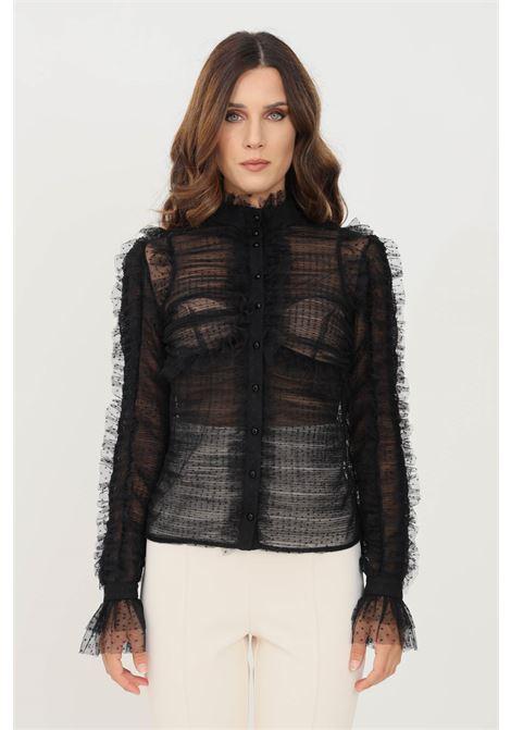 Camicia donna nero elisabetta franchi elegante con trasparenza ELISABETTA FRANCHI | Camicie | CA32616E2110