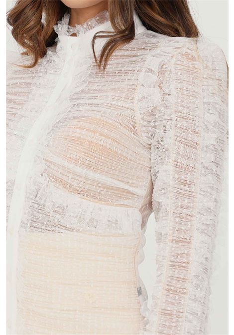 Ivory women's shirt by elisabetta franchi elegant model with transparencies ELISABETTA FRANCHI   Shirt   CA32616E2360