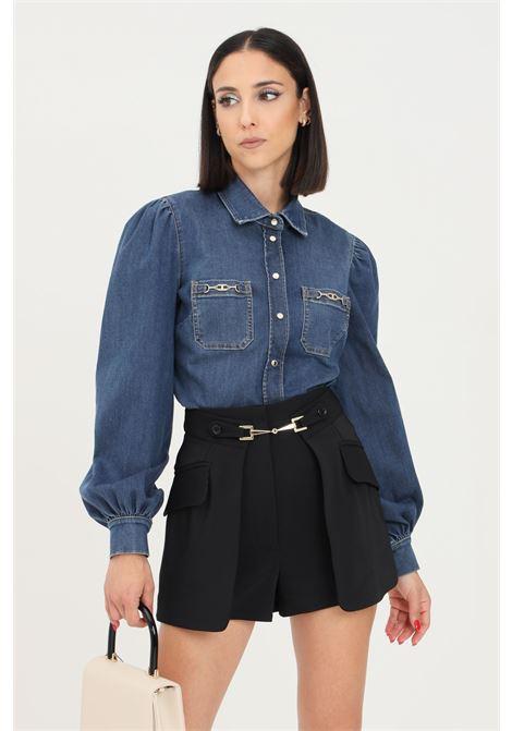 Camicia donna in denim blu elisabetta franchi modello casual ELISABETTA FRANCHI | Camicie | CJ13S16E2104