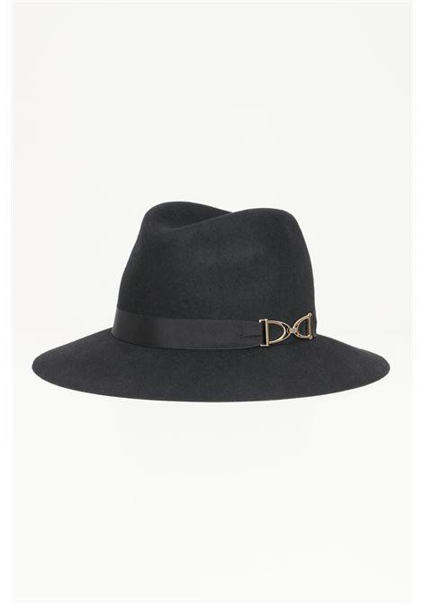Cappello donna nero elisabetta franchi modello bucket con morsetto distintivo ELISABETTA FRANCHI | Cappelli | CL01C16E2110