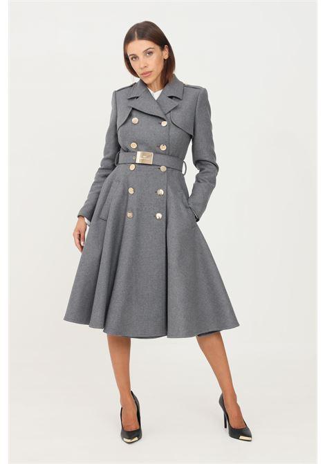 Grey women's coat by elisabetta franchi long cut ELISABETTA FRANCHI | Coat | CP00616E2022