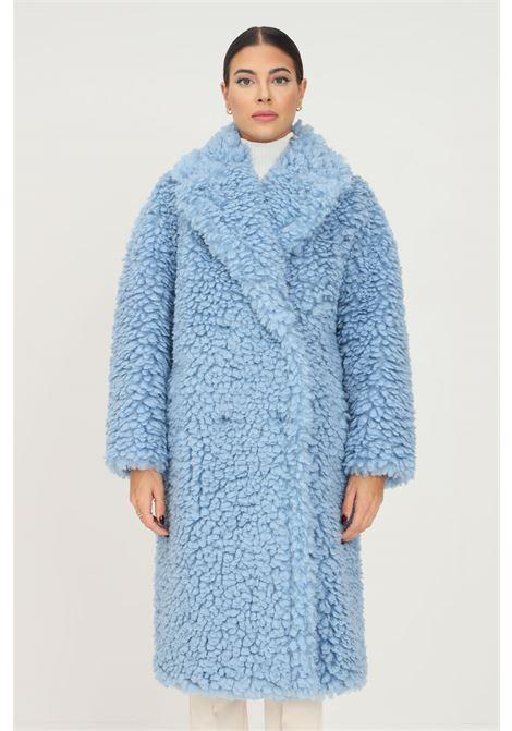 Cappotto azzurro da donna effetto montone Elisabetta Franchi ELISABETTA FRANCHI | Cappotti | CP37E16E2Q80