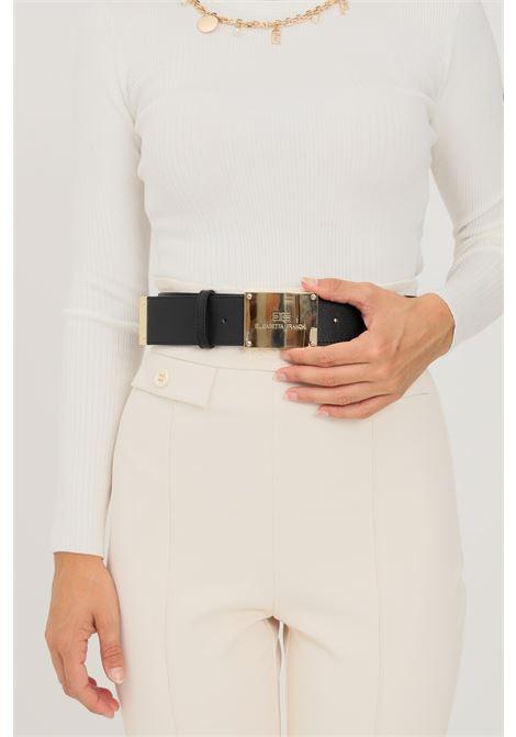 Black women's belt by elisabetta franchi with gold plaque  ELISABETTA FRANCHI | Belt | CT02S16E2110