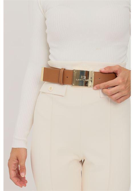 Brown women's belt by elisabetta franchi with gold plaque  ELISABETTA FRANCHI | Belt | CT02S16E2600