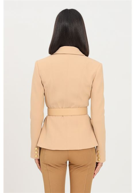 Camel women's jacket by elisabetta franchi military model with pockets and belt  ELISABETTA FRANCHI | Blazer | GI96316E2470