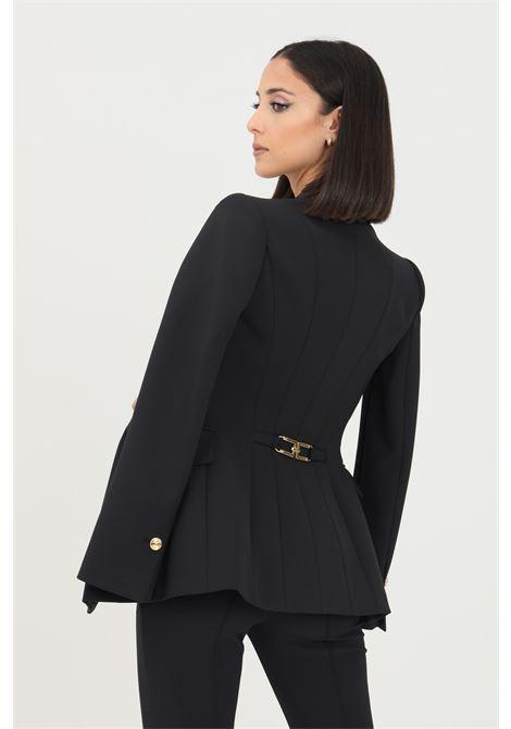 Black women's jacket by elisabetta franchi with branded buttons  ELISABETTA FRANCHI | Blazer | GI97116E2110