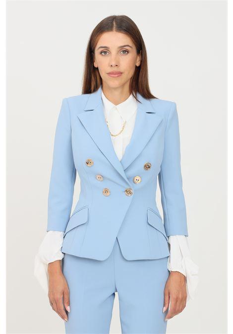 Light blue women's jacket by elisabetta franchi with gold buttons ELISABETTA FRANCHI | Blazer | GI97516E2Q80