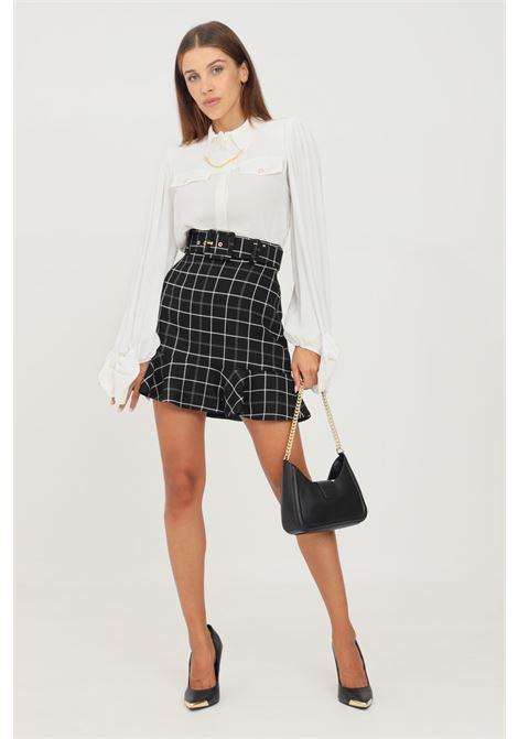 Black skirt by elisabetta franchi short cut with belt at the waist ELISABETTA FRANCHI | Skirt | GO47116E2110
