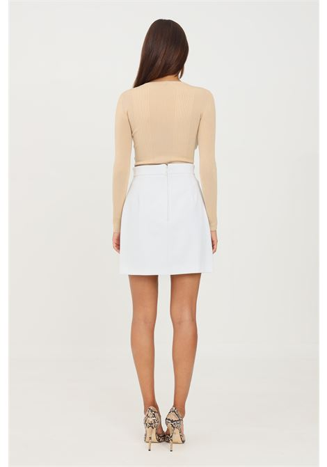Ivory short skirt with gold clamp on the front by elisabetta franchi ELISABETTA FRANCHI | Skirt | GO48716E2360