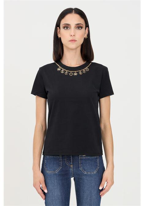 T-shirt donna nero elisabetta franchi a manica corta con applicazione catena oro ELISABETTA FRANCHI | T-shirt | MA20316E2110