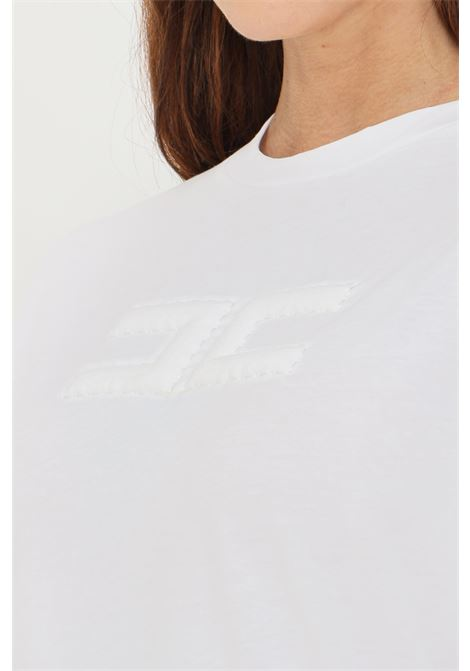 T-shirt donna gesso elisabetta franchi con logo impunturato ELISABETTA FRANCHI | T-shirt | MA20416E2270