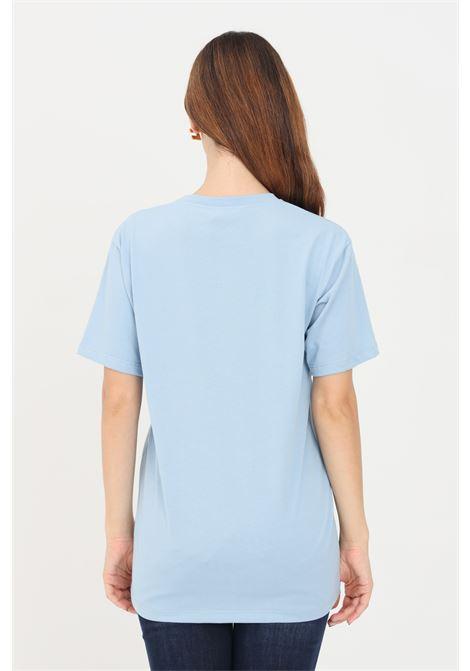 T-shirt donna blue elisabetta franchi con logo impunturato ELISABETTA FRANCHI | T-shirt | MA20416E2Q80