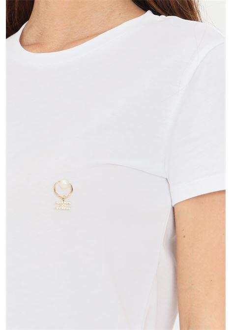 T-shirt donna gesso elisabetta franchi con applicazioni piercing ELISABETTA FRANCHI | T-shirt | MA20616E2270