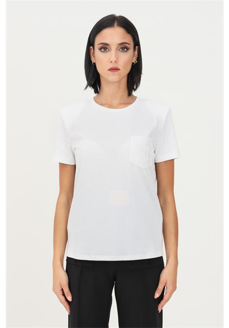 White women's t-shirt by elisabetta franchi with inner straps ELISABETTA FRANCHI | T-shirt | MA20716E2270