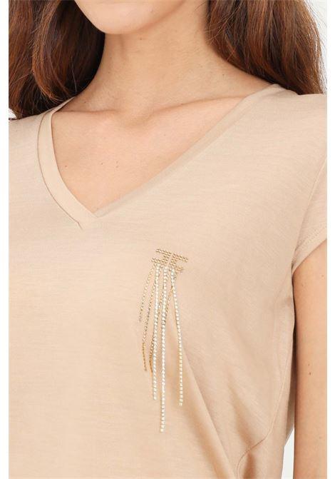 T-shirt donna cappuccino elisabetta franchi a manica corta con applicazioni strass ELISABETTA FRANCHI | T-shirt | MA21316E2043