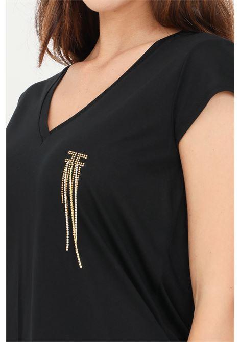 T-shirt donna nero elisabetta franchi a manica corta con applicazioni strass ELISABETTA FRANCHI | T-shirt | MA21316E2110