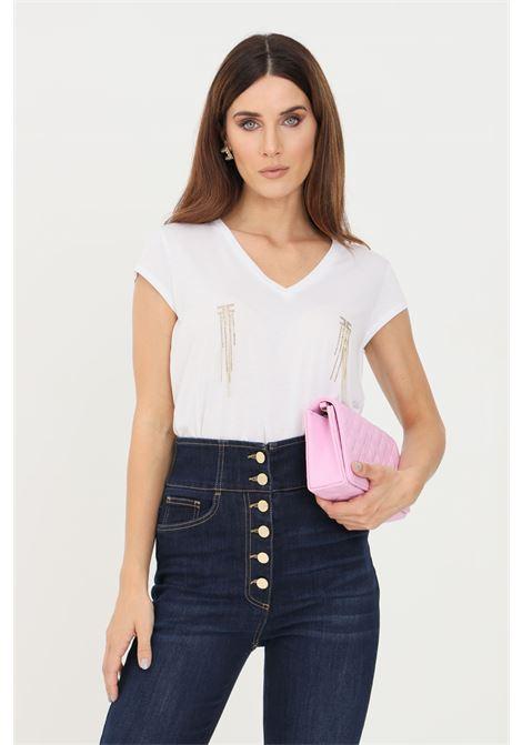 T-shirt donna gesso elisabetta franchi a manica corta con applicazioni strass ELISABETTA FRANCHI | T-shirt | MA21316E2270