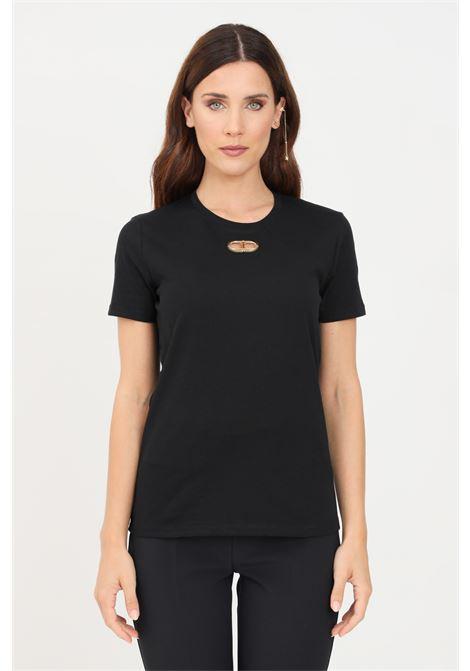 T-shirt donna nero elisabetta franchi con logo sul fronte ELISABETTA FRANCHI | T-shirt | MA26N16E2110