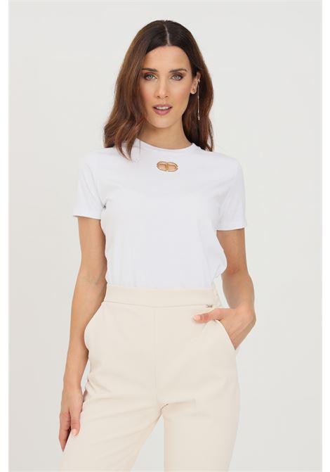 T-shirt donna bianco elisabetta franchi con logo sul fronte ELISABETTA FRANCHI | T-shirt | MA26N16E2270