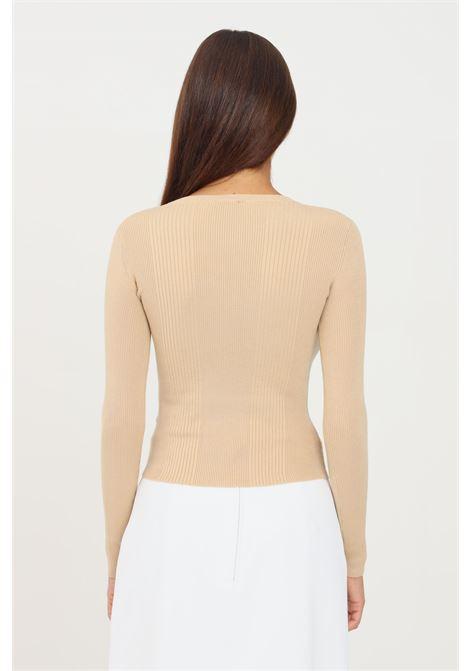 Brown women's sweater by elisabetta crew neck model with chain application ELISABETTA FRANCHI | Knitwear | MK20B16E2043
